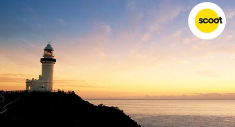 Cape Byron lighthouse at sunset, Byron Bay, Northern Rivers